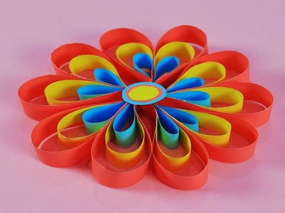 Make a flower of paper for decoration | Make a beautiful flower with paper for decoration