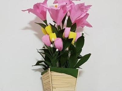Making Bamboo Flowers Vase | Room Decoration Bamboo Chopsticks Flower | DIY Bamboo Chopsticks Flower