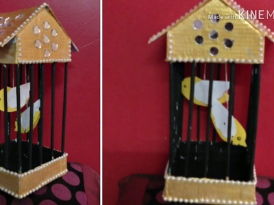 MAKING CAGE FROM CARDBOARD NEWSPAPER | DIY BIRD CAGE FROM CARDBOARD AND NEWSPAPER