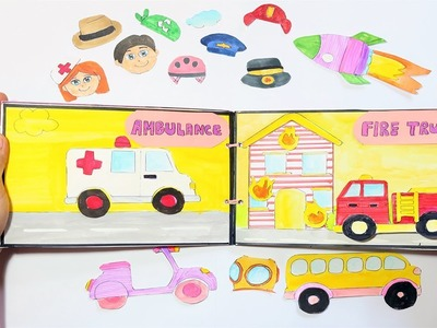 ???????? PAPER QUIET BOOK FOR  DOLLS TRUCK HANDMADE - LEARN ABOUT VEHICLES PAPER