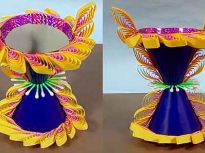 Quilling paper flower vase making idea