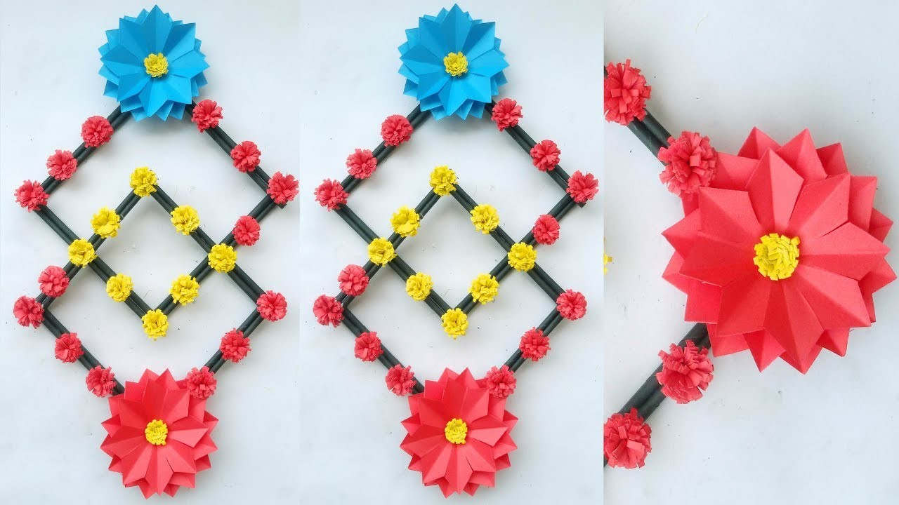 Wall decoration with flowers for wedding #Paper flower wall decoration ideas # Decoration with paper