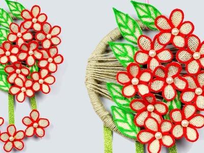 Wall Hanging DIY Flower with Jute - Flower Using Jute Rope - Latest Wall Decor Jute Craft Idea