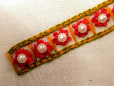 Beautiful border design with french knot, chain stitch and bead embroidery