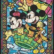 Counted Cross stitch pattern Mice in air balloon stained 276*397 stitches CH728