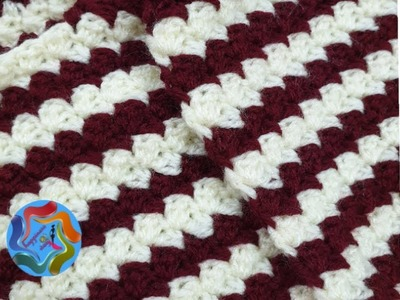 Crochet stitch beautiful and simple for scarf or blanket
