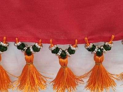 Crystal beads saree kuchu design   Simple saree kuchu design