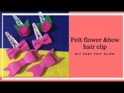 DIY FELT FLOWER AND BOW HAIR CLIP
