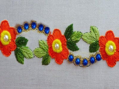 Hand embroidery beaded border design,beads works,latest border stitch for dress