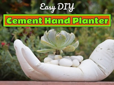 Homemade DIY Hand Planter from White Cement