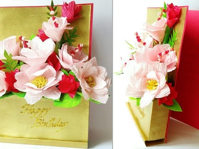 How to make Paper Flower Bouquet cum Greeting Card | Handmade Paper Bouquet.Card | Easy Step by Step