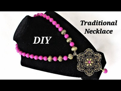 How To Make Round Polymer Clay Beads | Gorgeous Traditional Necklace With Round Beads & Pendant Base