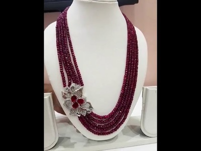 KAYA JEWELS NATURAL RUBY BEADS GORGEOUS NECKLACE WITH STONE STUDDED PENDANT