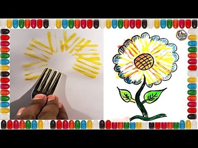 Kids Crafts Sunflower | AMAZING SUNFLOWER HACKS & CRAFT SPOON | Kids Arts and crafts | Art for kids