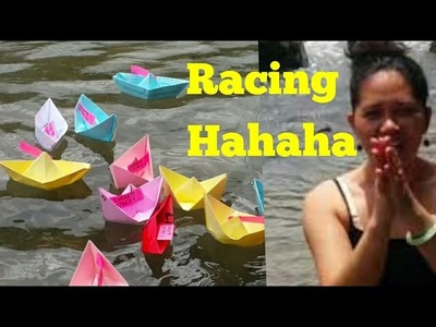 Origami Paper boat    Racing .Which will drown first ?Hahahaha