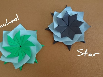 Origami Star. Pinwheel Star. Mandala 折纸星