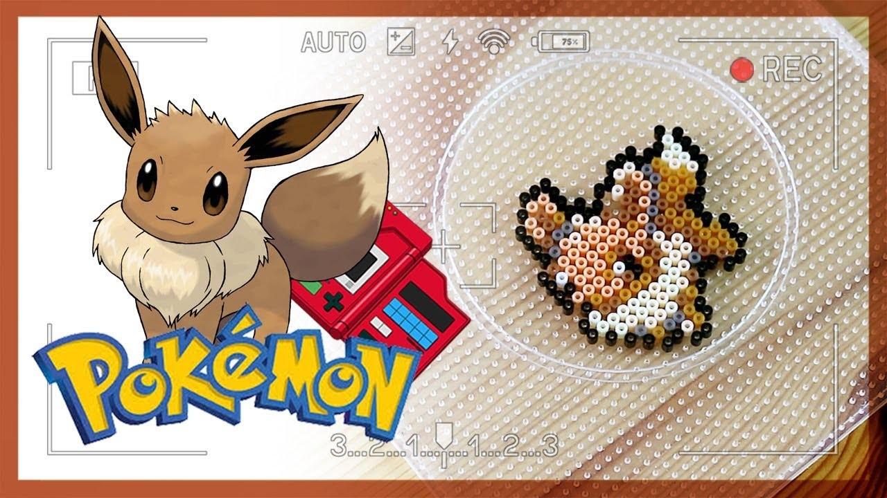 Perler beads art Pokemon eevee tutorial   ポケットモンスター イーブイ  펄러비즈 아트 포켓몬 이브이 만들기