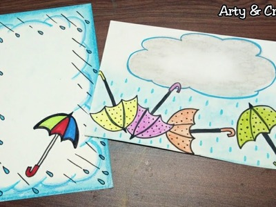 Rainy Border | Easy Border Design on Paper | Border Design for Project & Front Page by Arty & Crafty