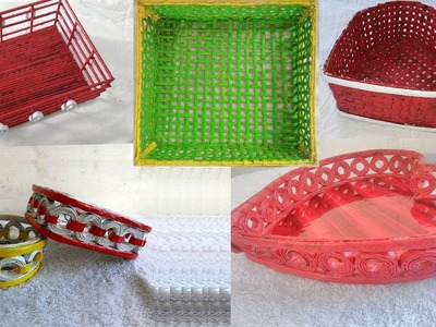5 Beautiful Basket with Newspaper    How To Make Newspaper Basket   Handmade basket with newspaper  