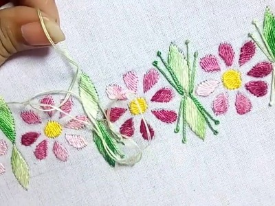 #87# Embroidery Border Design with Kashmiri Stitch and French Knot Stitch