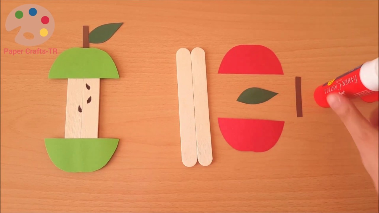 Apple Craft with Popsicle Sticks