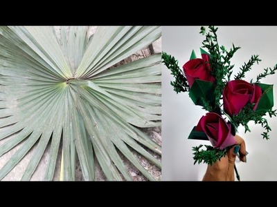 Art and craft idea.Flower craft ideas at home with Tal pata| Beautiful flower craft. Suchipatra Art.