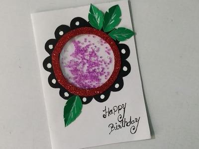 Beautiful simple Handmade birthday greeting card. cute birthday card