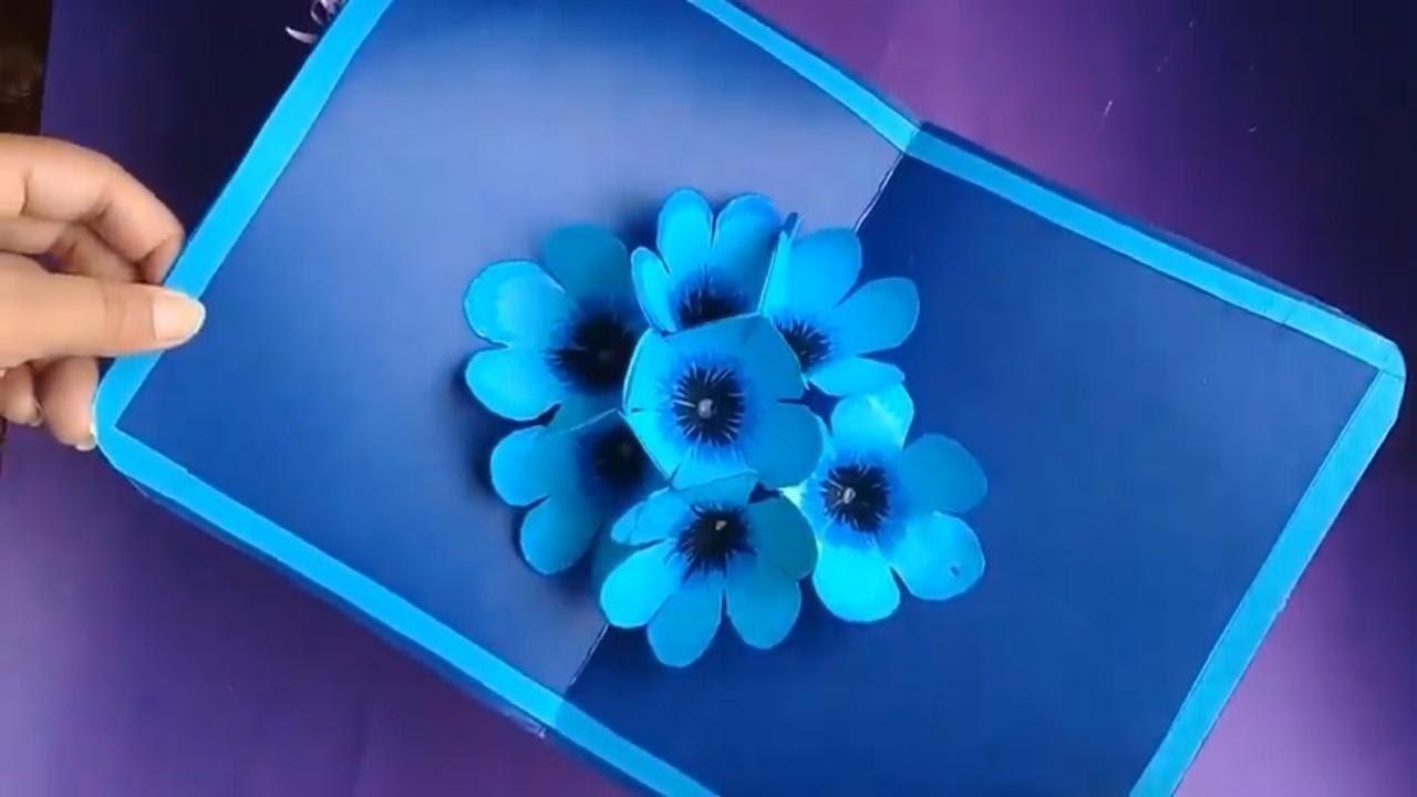 DIY 3D flower POP UP card. Teacher Day Card idea