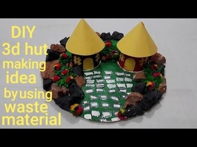 DIY 3D hut making idea by using waste material | creative activity for kids | question bank