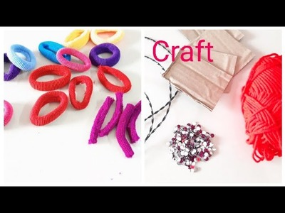 DIY Amazing craft out of waste.DIY wall hanging out of wool & hair rubber band (172)