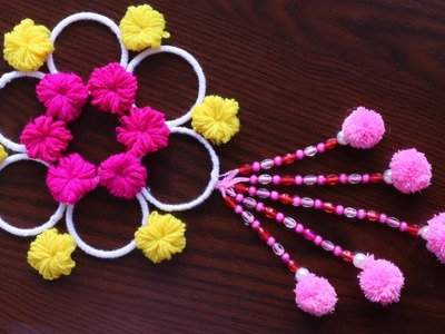 DIY easy woolen flower wall hanging!! DIY Room decor!! Wool craft ideas!! Best out of waste toran