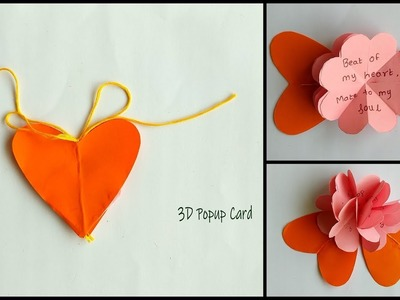 DIY : How to Make Heart Shaped Pop Up Greeting Card |  Handmade Gift Ideas | Easy 3D Pop Up Card