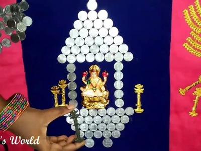 Goddess Lakshmi decorated with Indian Rupee Coins || DIY'S Goddess Lakshmi Decors || Chaitu's World✔