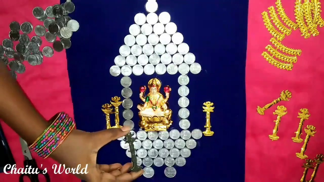 Goddess Lakshmi decorated with Indian Rupee Coins || DIY'S Goddess Lakshmi Decors || Chaitu's World✔