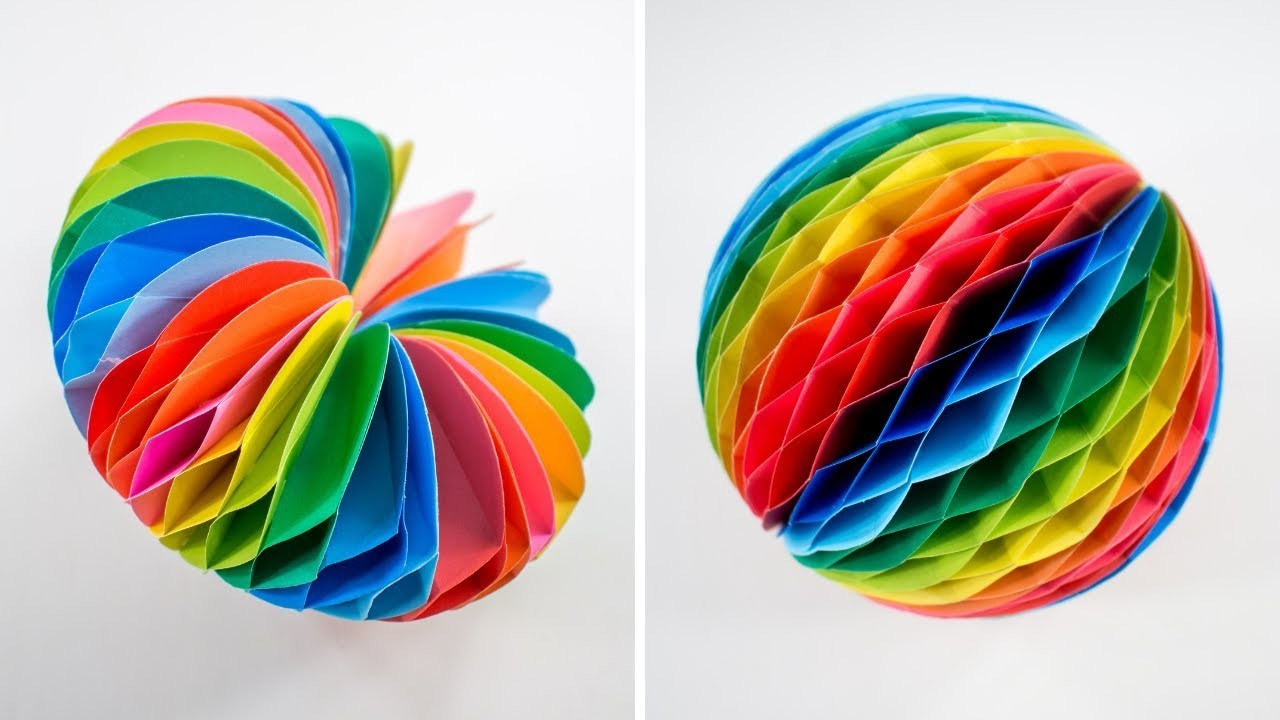 Honeycomb Heart And Honeycomb Ball - Paper Craft - DIY