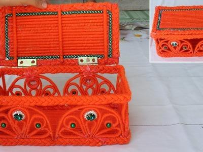 How to make a storage box - Jewellery storage box from woolen & newspaper