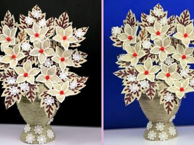 How to Make Jute Flower with Plastic Bottle Vase | Jute Art and Craft | Jute Craft Decoration Design