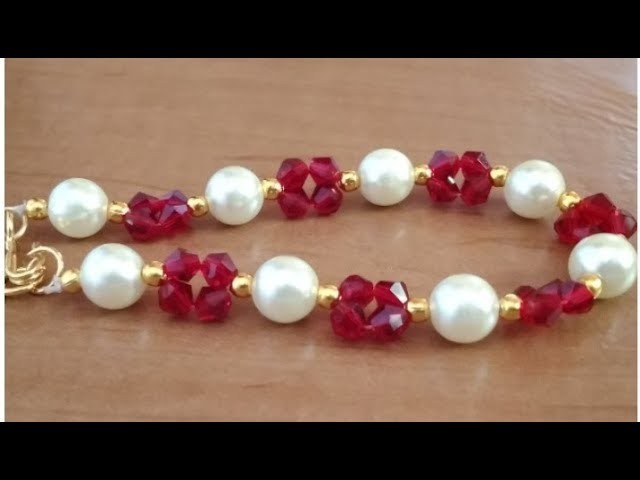 How to make pearl bracelet at home.DIY pearl bracelet