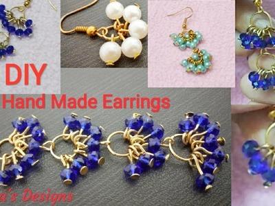 How To Make Pearl Earrings At Home. Crystal Earrings.Jewellery Making DIY. Shabna's Designs