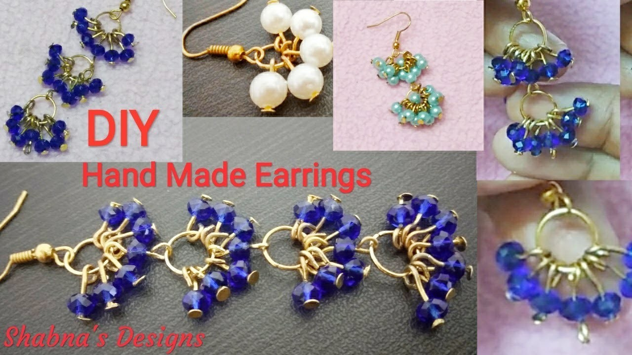 How To Make Pearl Earrings At Home. Crystal Earrings.Jewellery Making DIY. Shabna's Designs