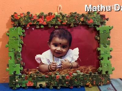 How to make puzzle photo frame | Easy DIY photo frame ideas