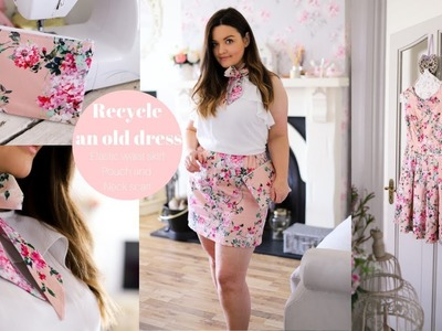 How to recycle old clothes into an elastic waist skirt, pouch and matching headband