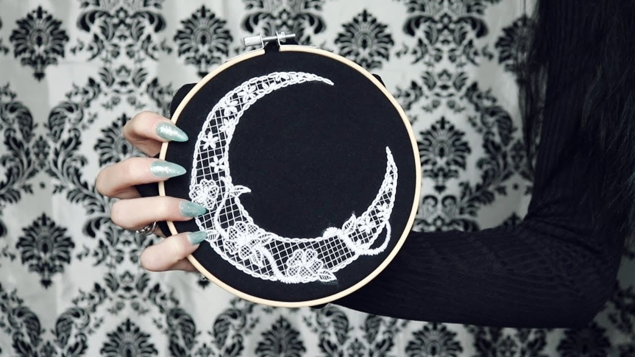 Lace moon embroidery tutorial
