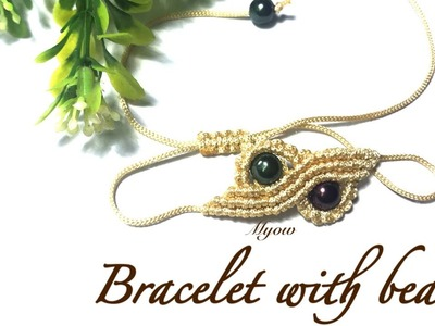 Macrame tutorial - How to make a simple bracelet with beads - VT0030