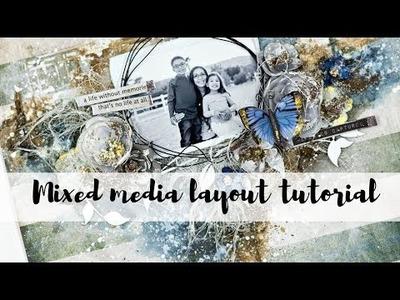 Mixed media layout tutorial | Beginner mixed media texture ideas