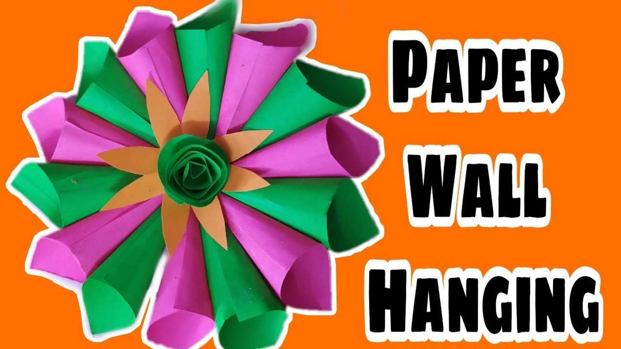 Paper wall hanging decoration || paper flower decoration || easy craft ideas || V-23