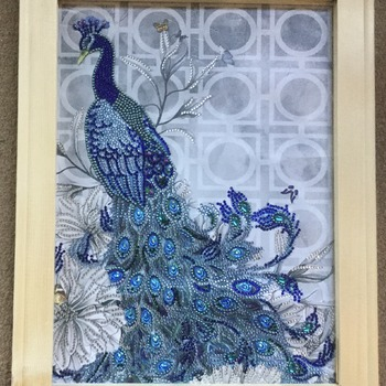 SOLD - Peacock, Diamond picture art, Art, Framed, No glass