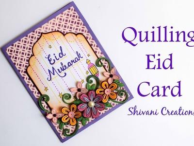 Quilling Eid Card. Handmade Card for Ramadan Eid