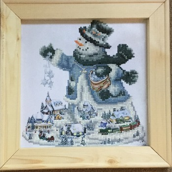 Santa Is Here, Diamond picture, Picture art, Art, Living room, Diamond picture art, Framed, No glass.