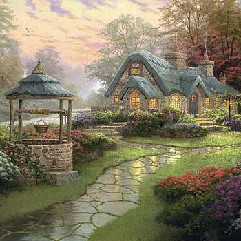 Unique Hand Made pdf Sewing Dmc Crafts Kinkade Make A Wish Cottage Cross Stitch Pattern***LOOK***